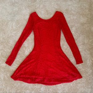 Divided Bright Red Lacy Skater Mini Dress